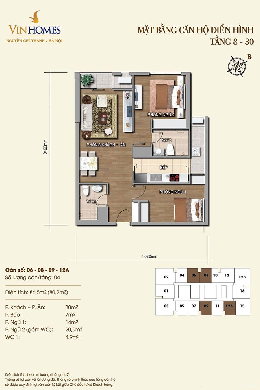 Thiết kế căn hộ 06, 08, 09, 12A Vinhomes Nguyễn Chí Thanh